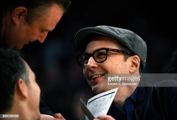 Actor Jim Parsons attends a basketball game between Houston Rockets and Los Angeles Lakers at Staples Center December 3 2017 in Los Angeles California