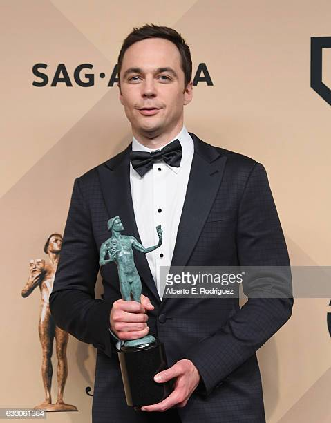 Actor Jim Parsons corecipient of the Outstanding Performance by a Cast in a Motion Picture award for 'Hidden Figures' poses in the press room during...