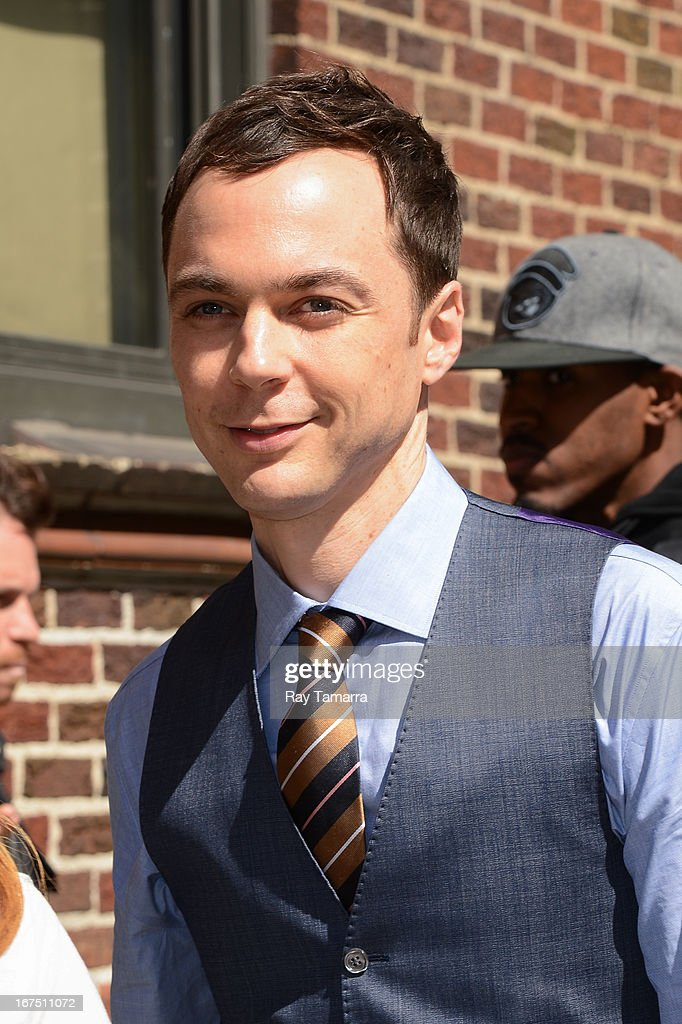 Actor Jim Parsons enters the 'Late Show With David Letterman' taping at the Ed Sullivan Theater on April 25, 2013 in New York City.