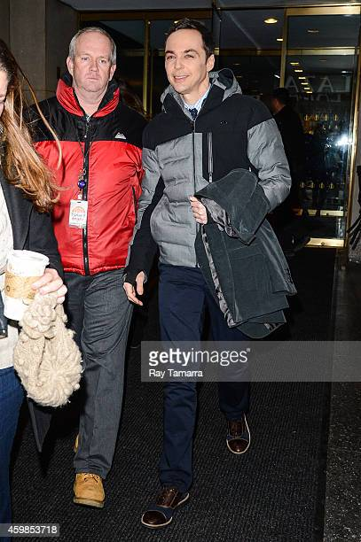 Actor Jim Parsons leaves the 'Today Show' taping at the NBC Rockefeller Center Studios on December 2 2014 in New York City