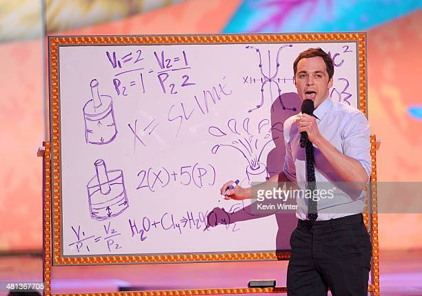 Actor Jim Parsons onstage during Nickelodeon's 27th Annual Kids' Choice Awards held at USC Galen Center on March 29 2014 in Los Angeles California