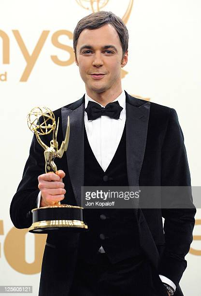 Actor Jim Parsons poses in the press room at the 63rd Primetime Emmy Awards held at Nokia Theatre LA Live on September 18 2011 in Los Angeles United...