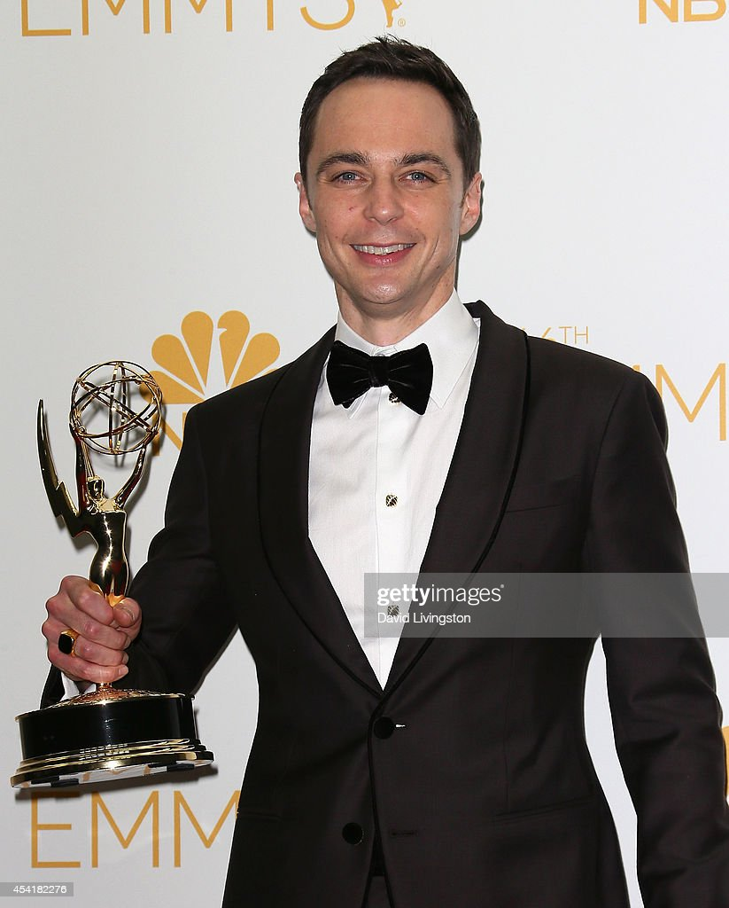 Actor Jim Parsons poses in the press room at the 66th Annual Primetime Emmy Awards at the Nokia Theatre L.A. Live on August 25, 2014 in Los Angeles, California.