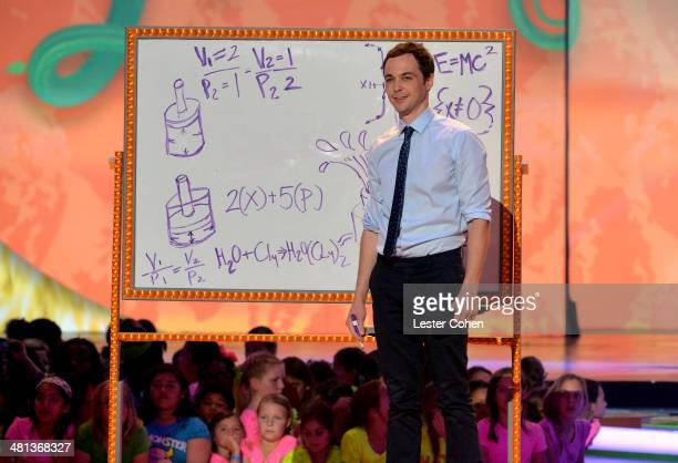 Actor Jim Parsons speaks onstage during Nickelodeon's 27th Annual Kids' Choice Awards held at USC Galen Center on March 29 2014 in Los Angeles...