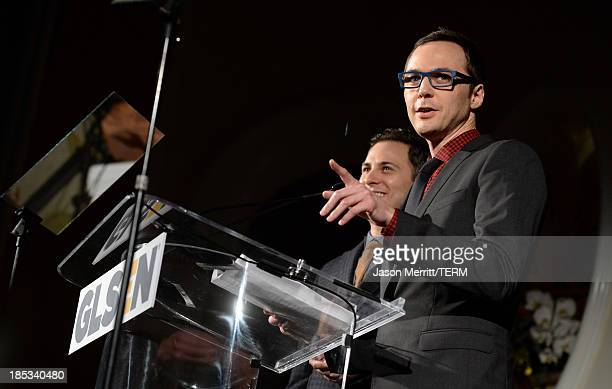 Actor Jim Parsons speaks onstage during the 9th Annual GLSEN Respect Awards at Beverly Hills Hotel on October 18 2013 in Beverly Hills California