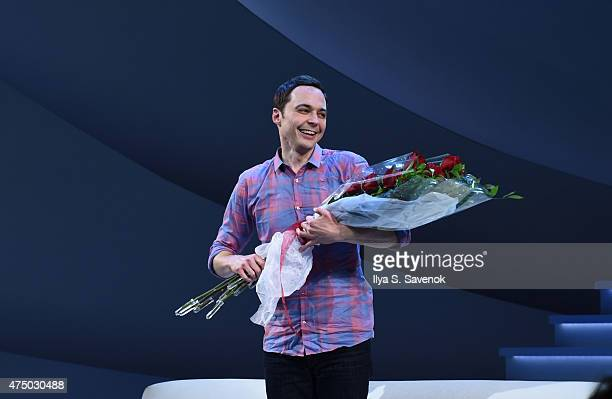 Actor Jim Parsons takes a bow during 'An Act Of God' Broadway Opening Night on May 28 2015 in New York City