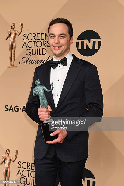 Actor Jim Parsons winner of the Outstanding Cast in a Motion Picture award for 'Hidden Figures' poses in the press room during the 23rd Annual Screen...