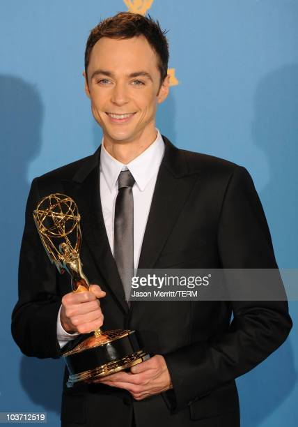 """Actor Jim Parsons, winner of the Outstanding Lead Actor in a Comedy Series for """"The Big Bang Theory"""" poses in the press room at the 62nd Annual..."""
