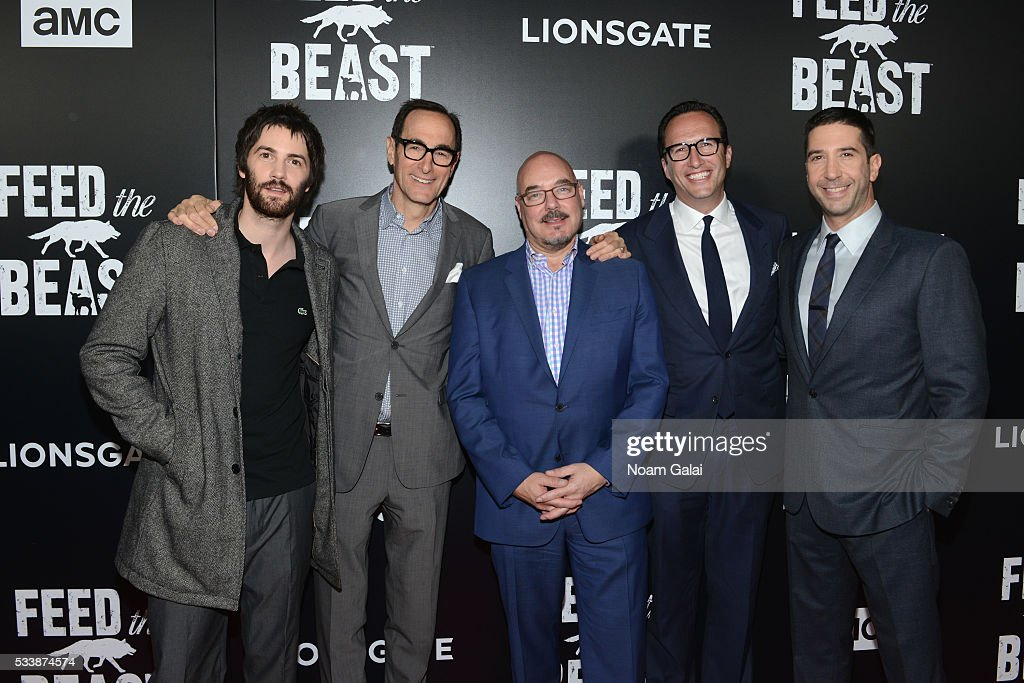 Actor Jim Sturgess, AMC CEO Josh Sapan, Joel Stillerman, AMC President Charlie Collier, and actor David Schwimmer attend the AMC's Feed The Beast Premiere on May 23, 2016 in New York City.