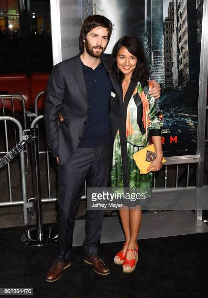 Actor Jim Sturgess and actress Dina Mousawi attend the premiere of Warner Bros. Pictures' 'Geostorm' at the TCL Chinese Theatre on October 16, 2017...