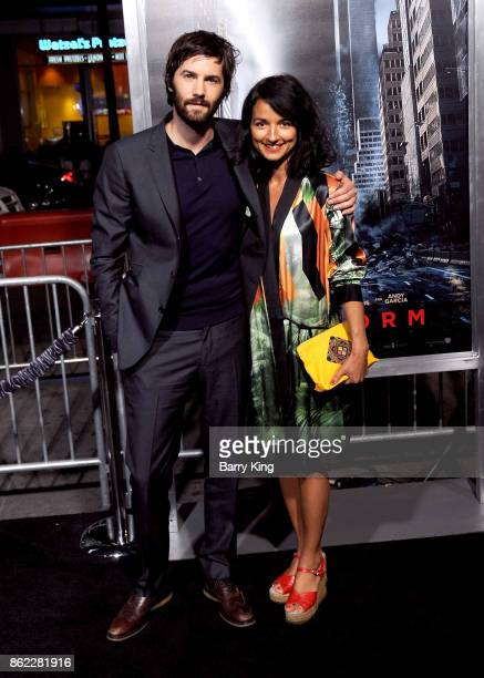 Actor Jim Sturgess and Dina Mousawi attend the premiere of Warner Bros. Pictures' 'Geostorm' at TCL Chinese Theatre on October 16, 2017 in Hollywood,...