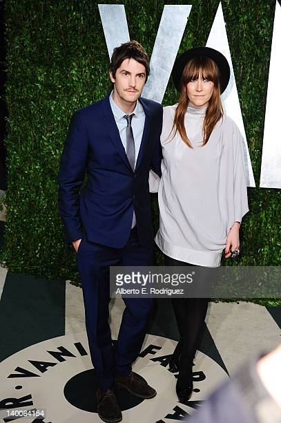 Actor Jim Sturgess and Mickey O'Brien arrives at the 2012 Vanity Fair Oscar Party hosted by Graydon Carter at Sunset Tower on February 26 2012 in...