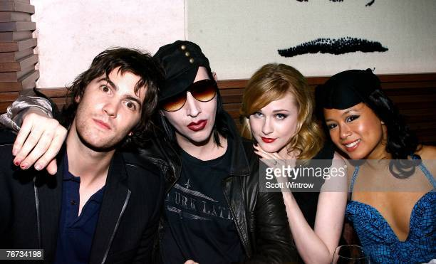Actor Jim Sturgess, musician Marilyn Manson, actress Evan Rachel Wood and actress T.V. Carpio attend the after party for a special screening of...