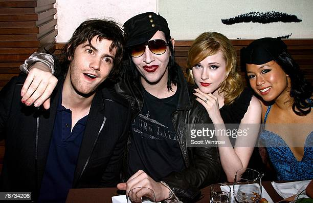 Actor Jim Sturgess musician Marilyn Manson actress Evan Rachel Wood and actress TV Carpio attend the after party for a special screening of Across...