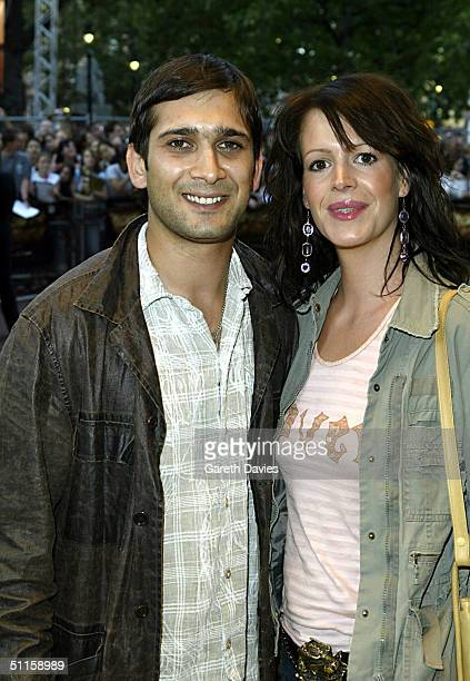 Actor Jimi Mistry and his wife Meg Mistry arrive at the UK Premiere of The Village on August 10 2004 at the Odeon Leicester Square in London