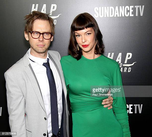 Actor Jimmi Simpson and model/actress Pollyanna McIntosh attend Hap And Leonard private premiere party at Hill Country BBQ on February 25 2016 in New...
