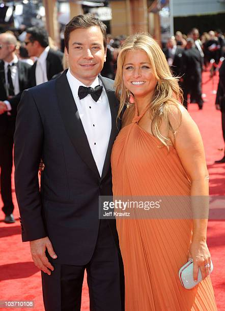 Actor Jimmy Fallon and producer Nancy Juvonen arrive at the 62nd Annual Primetime Emmy Awards held at the Nokia Theatre LA Live on August 29 2010 in...