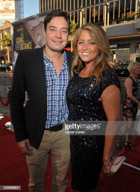 Actor Jimmy Fallon and producer Nancy Juvonen attend the Going The Distance Los Angeles premiere red carpet on August 23 2010 in Los Angeles...