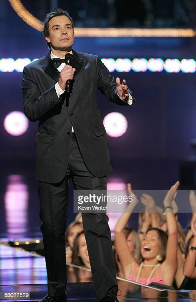 Actor Jimmy Fallon hosts onstage during the 2005 MTV Movie Awards at the Shrine Auditorium on June 4 2005 in Los Angeles California The 14th annual...