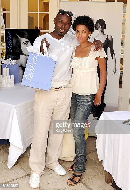 Actor Jimmy JeanLouis and Evelyn pose during the 2008 DPA Garden Party gift suite held at Frederic Fekkai on May 30 2008 in Beverly Hills California