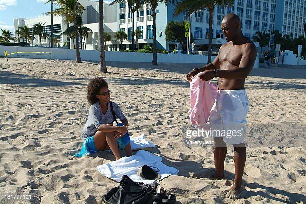 COVERAGE** Actor Jimmy JeanLouis and wife Evelyn JeanLouis are sighted on the beach on October 16 2010 in Fort Lauderdale Florida