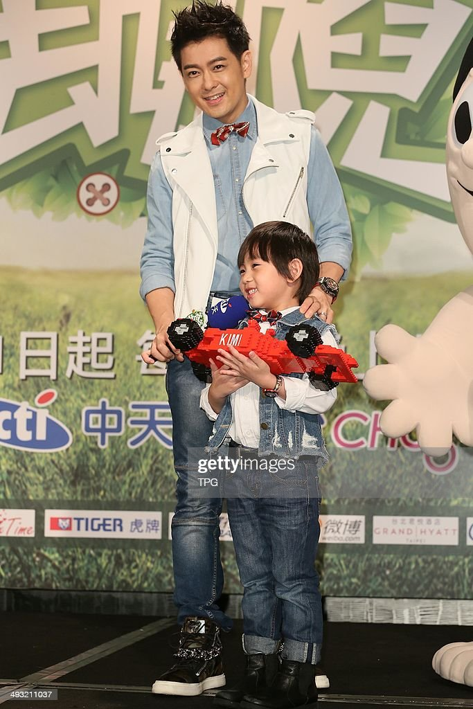 Actor Jimmy Lin and his son Kimi attend press conference ...