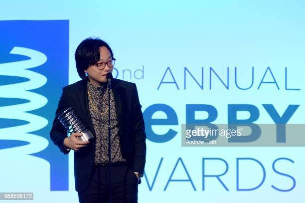 Actor Jimmy O Yang accepts award onstage at The 22nd Annual Webby Awards at Cipriani Wall Street on May 14 2018 in New York City