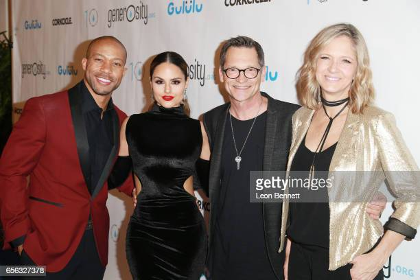 Actor Jimmy RO Smith Music artist Pia Toscano Founder and CEO Philip Wagner of Generosityorg and Holly Wagner arrives at the Generosityorg Fundraiser...