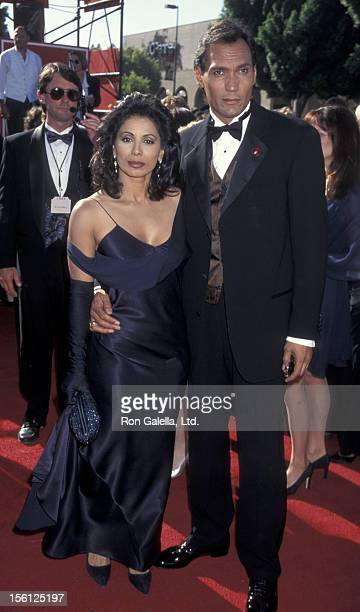 Actor Jimmy Smits and Wanda De Jesus attending 47th Annual Primetime Emmy Awards on September 9 1995 at the Pasadena Auditorium in Pasadena California