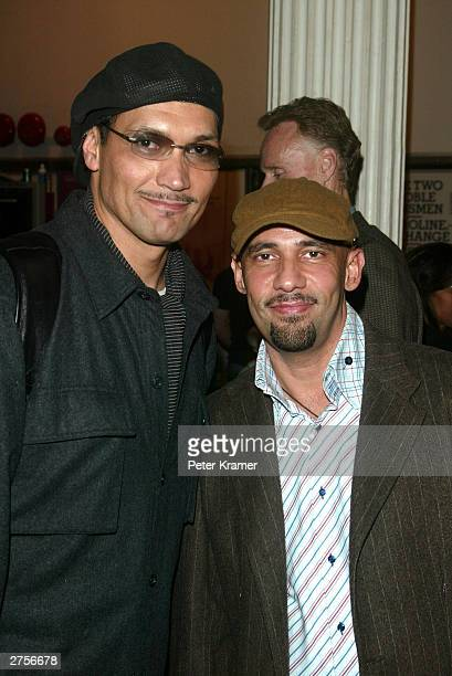 """Actor Jimmy Smits and writer Nilo Cruz arrive at the opening of the musical """"Caroline, or Change"""" November 23, 2003 in New York City."""