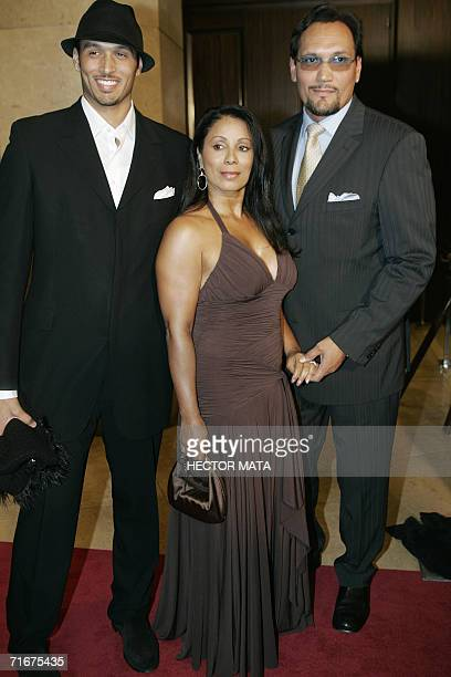 Actor Jimmy Smits his partner Wanda De Jesus and their son Joaquin pose for photographers upon arriving for the Imagen Awards in Beverly Hills CA 18...