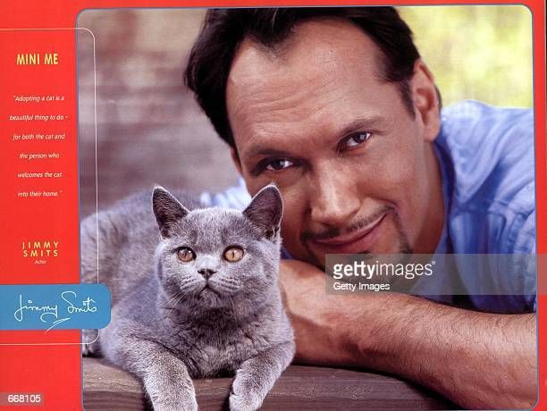 Actor Jimmy Smits with his cat Mini Me were one of the many celebrities to pose for the Purina 2001 Cat Chow Celebrity Cat Calendar sponsored by Tony...