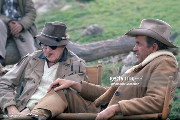 Actor Jimmy Stewart and director John Ford on the set of the 1961 Western Two Rode Together