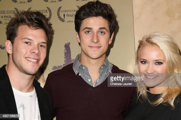 Actor Jimmy Tatro actor/director David Henrie and actress Emily Osment arrive at the screening of David Henrie's new short film Catch at Sunset...