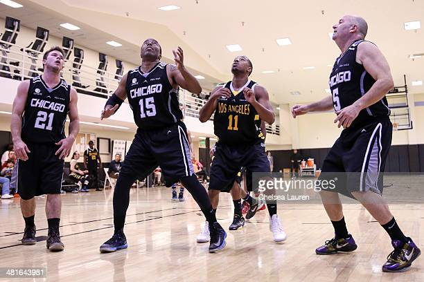 Actor Jimmy Tatro talent manager Silas White actor Michael B Jordan and manager Cory Concoff attend the ELeague celebrity basketball game at Equinox...