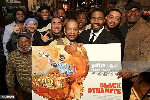 Actor Jimmy Walker Jr director Scott Sanders actor Michael Jai White actor Cedric Yarbrough and Buddy Lewis attend the Black Dynamite Party at the...