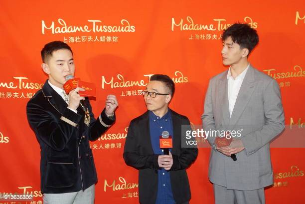 Actor Jing Boran and director Raman Hui attend the unveiling ceremony of Jing Boran's wax figure at Madame Tussauds on February 3 2018 in Shanghai...