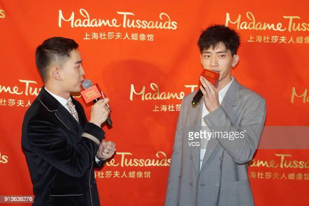 Actor Jing Boran attends the unveiling ceremony of his wax figure at Madame Tussauds on February 3 2018 in Shanghai China