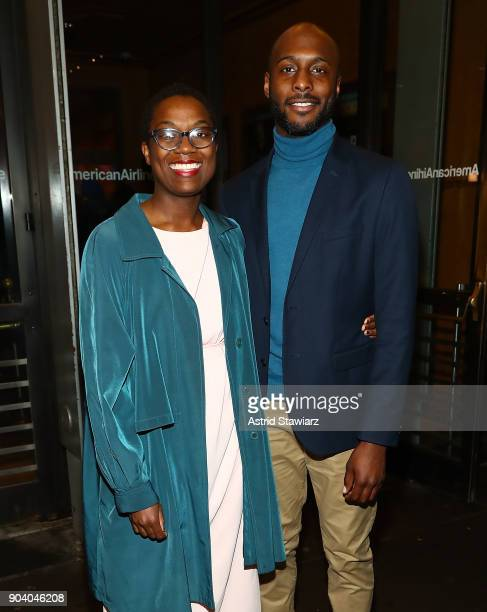 Actor Jireh Breon Holder and guest attend opening night of 'John Lithgow Stories By Heart' at American Airlines Theatre on January 11 2018 in New...