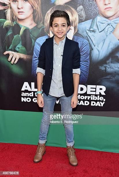 Actor JJ Totah attends The World Premiere of Disney's Alexander and the Terrible Horrible No Good Very Bad Day at the El Capitan Theatre on October 6...