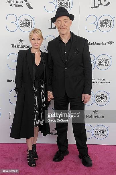 Actor JK Simmons and Michelle Schumacher arrive at the 2015 Film Independent Spirit Awards on February 21 2015 in Santa Monica California
