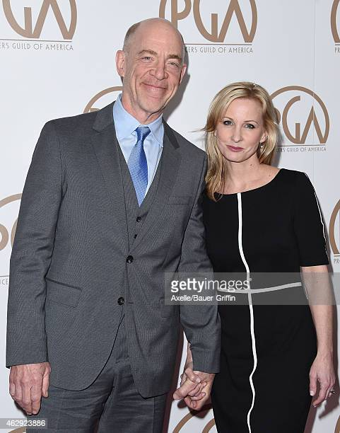 Actor JK Simmons and Michelle Schumacher arrive at the 26th Annual PGA Awards at the Hyatt Regency Century Plaza on January 24 2015 in Los Angeles...