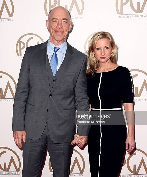 Actor JK Simmons and Michelle Schumacher attend the 26th Annual Producers Guild Of America Awards at the Hyatt Regency Century Plaza on January 24...