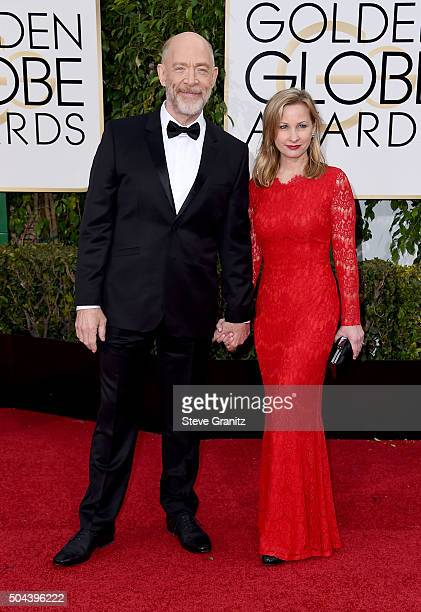 Actor JK Simmons and Michelle Schumacher attend the 73rd Annual Golden Globe Awards held at the Beverly Hilton Hotel on January 10 2016 in Beverly...