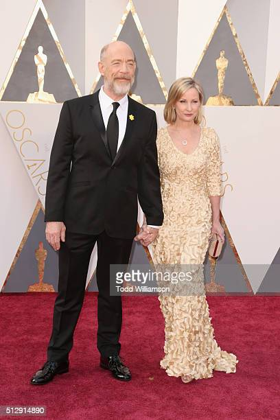 Actor JK Simmons and Michelle Schumacher attend the 88th Annual Academy Awards at Hollywood Highland Center on February 28 2016 in Hollywood...