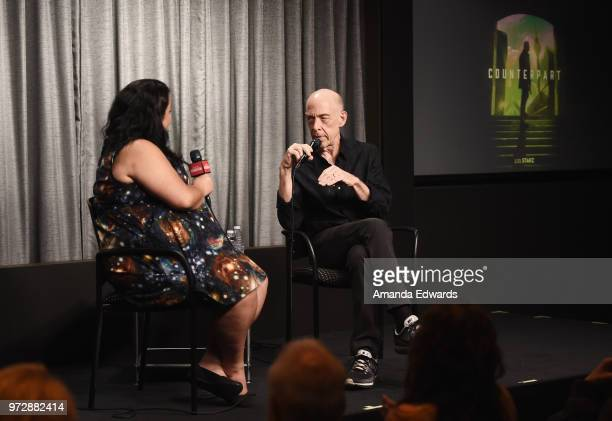 Actor JK Simmons and screenwriter Jenelle Riley attend the SAGAFTRA Foundation Conversations screening of 'Counterpart' at the SAGAFTRA Foundation...