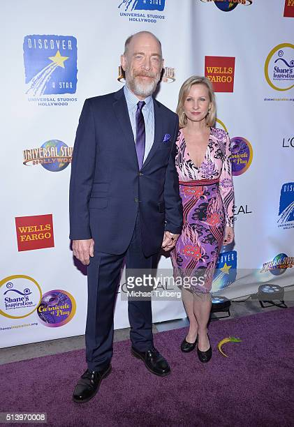 Actor JK Simmons and wife Michelle Schumacher attend Shane's Inspiration's 15th Annual Gala at The Globe Theatre on March 5 2016 in Universal City...