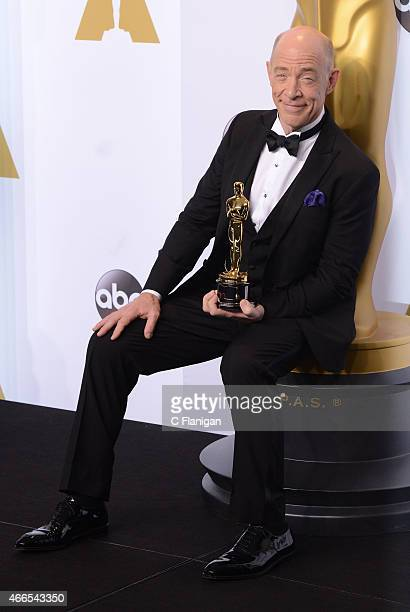 Actor J.K. Simmons poses in the press room with his award for Best Supporting Actor at the 87th Annual Academy Awards at Hollywood & Highland Center...