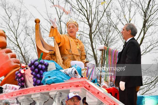 Actor JK Simmons reigns as King Bacchus XLX during the Krewe of Bacchus parade on February 11 2018 in New Orleans Louisiana