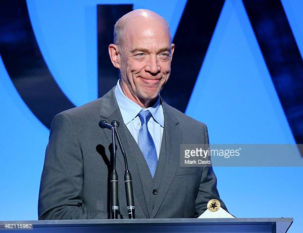 Actor JK Simmons speaks onstage during the 26th Annual Producers Guild Of America Awards at the Hyatt Regency Century Plaza on January 24 2015 in Los...